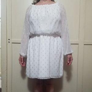 Soft White w/Gold Polka-dots Blouson Dress
